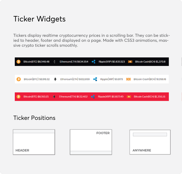 cryptocurrency price ticker widget